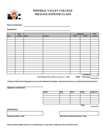Form - Mileage Reimbursement 2021