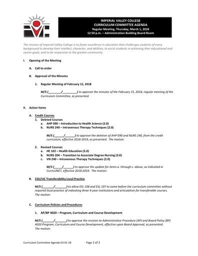 Agenda Curriculum 2018-03-01