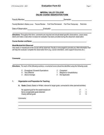 CTA Contract 2018 2021 Evaluation Form E2
