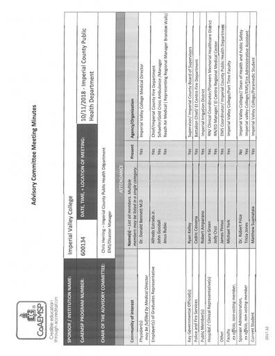 2018-10-11 EMS Program Advisory Committee Minutes