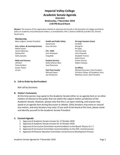 Academic Senate agenda 2018-11-07