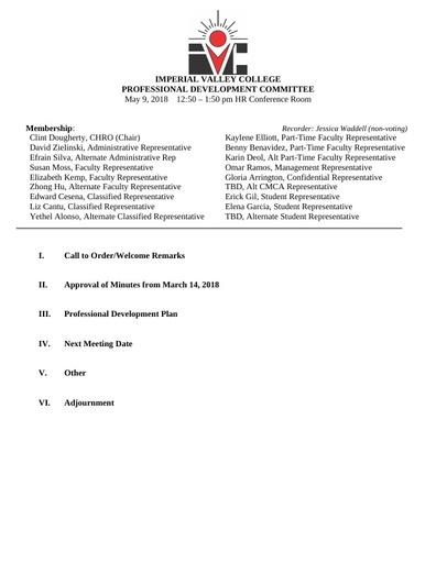 Professional Development Committee Agenda 05 09 18