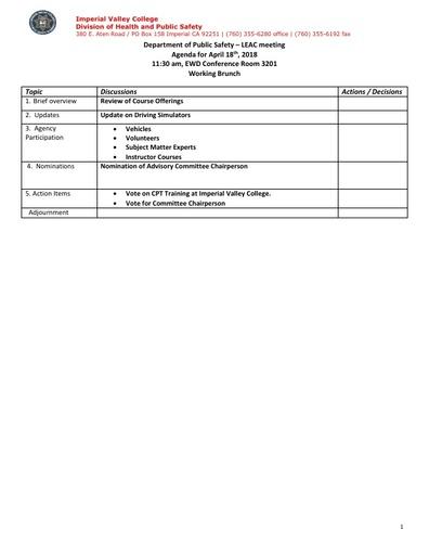 2018_04_18 Law Enforcement Advisory Committee Meeting Agenda