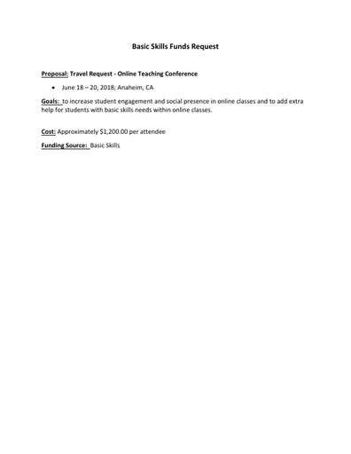 2018-04-11_Integrated Student Success Agenda Item-Travel Request-Online Teaching Conference